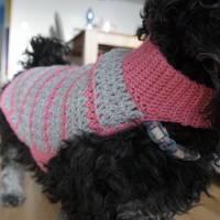 Hundemantel rosa/grau gehäkelt Halsumfang 30-35cm Gesamtlänge 39cm Handarbeit Bild 9