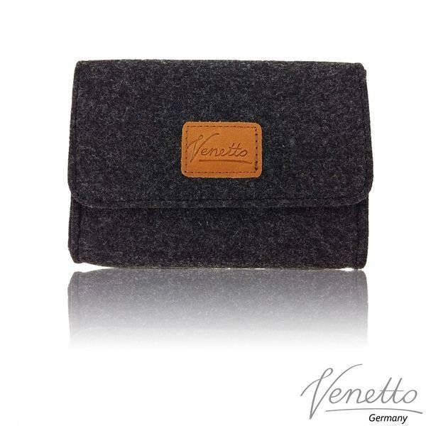 mini Tasche Täschchen Hülle aus Filz für Zubehör Schminktasche Aufbewahrungstasche Schwarz meliert Bild 1