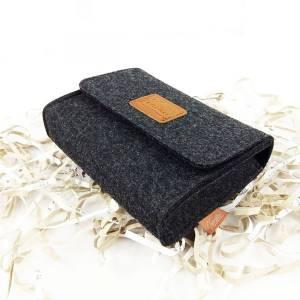 mini Tasche Täschchen Hülle aus Filz für Zubehör Schminktasche Aufbewahrungstasche Schwarz meliert Bild 4