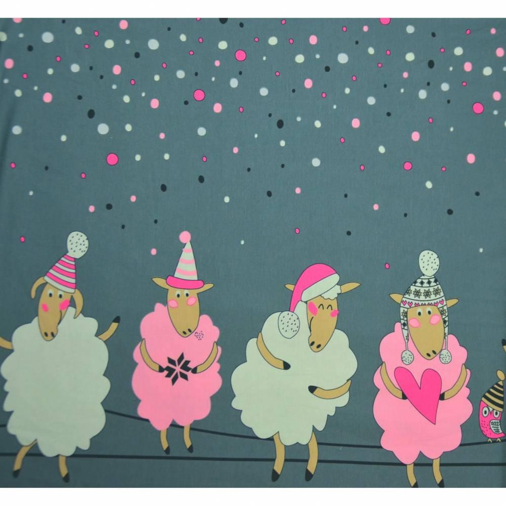 Jersey Bordürendruck Schafe Konfetti Tupfen Digitaldruck 50 x 150 cm Bild 1
