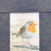 Notenhefttasche Rotkehlchen, Robin, Upcycling-Unikat hessmade Bild 8