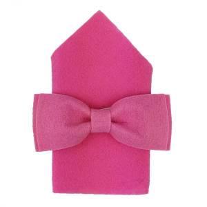 Filzfliege Herrenfliege Schleife Fliege aus Filz mit  Einstecktuch pink Bild 1