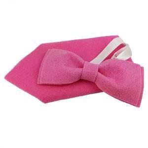 Filzfliege Herrenfliege Schleife Fliege aus Filz mit  Einstecktuch pink Bild 4