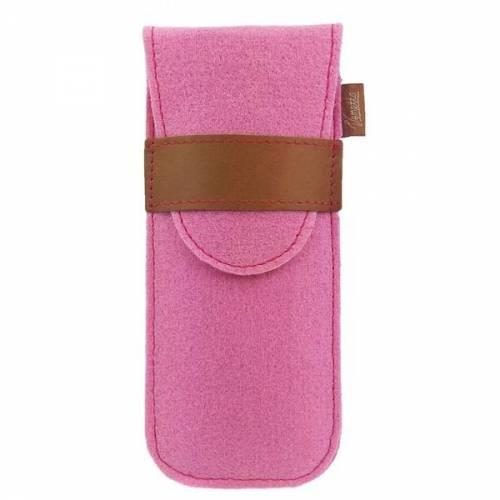 Stifteetui Etui Stifte Brille Filzetui mit Lederverschluss rosa