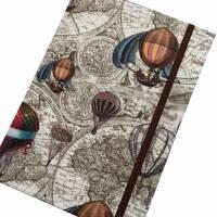 """Notizbuch/Reisetagebuch """"Vintage Map"""" Hardcover A5 stoffbezogen Landkarte Reise Weltreise Geschenk  Bild 4"""