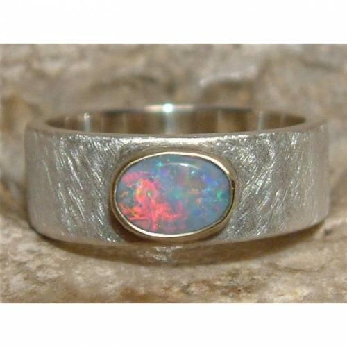 Opalring aus 925 Sterling Silber mit 14ct Gold - Massiver schwerer Ring / Silberring mit Opal