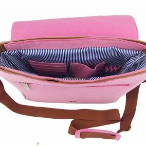 Umhängetasche Freizeit Schultertasche Tasche aus Filz Filztasche Handtasche Pink Bild 4