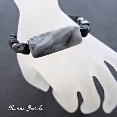 Herren Armband Edelstein Jaspis grau schwarz Männer Armband Würfel Perlen Edelsteinarmband