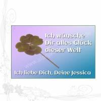 """Handgemachter Glücksbringer mit echtem vierblättrigem Kleeblatt im EC-Kartenformat, """"Liebe 002"""", keine Versandkosten Bild 1"""