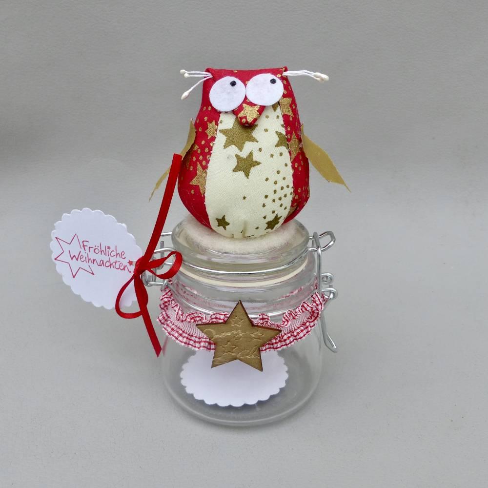 Weihnachts-Geschenk-Glas mit Eule, für Geld/ Gutschein/ Plätzchen, Geldgeschenk Bild 1