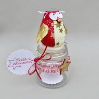 Weihnachts-Geschenk-Glas mit Eule, für Geld/ Gutschein/ Plätzchen, Geldgeschenk Bild 5