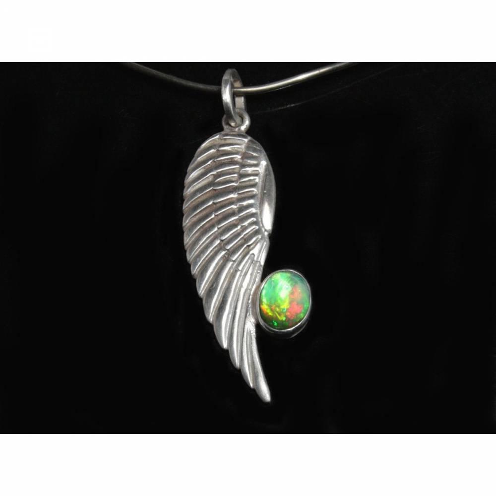 Silberanhänger mit Top Opal -- Opalanhänger für Halsketten / Colliers - Kunstvoller Anhänger aus 925 Silber - Adler Flüg Bild 1