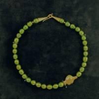 UNIKAT! echte Süßwasser Perlenkette in Grün mit vergoldetem FISCH Bild 2