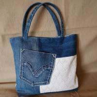 Handtasche, Jeans, Upcycling, Spitze Bild 1