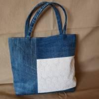 Handtasche, Jeans, Upcycling, Spitze Bild 2