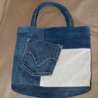 Handtasche, Jeans, Upcycling, Spitze Bild 3