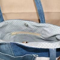 Handtasche, Jeans, Upcycling, Spitze Bild 6