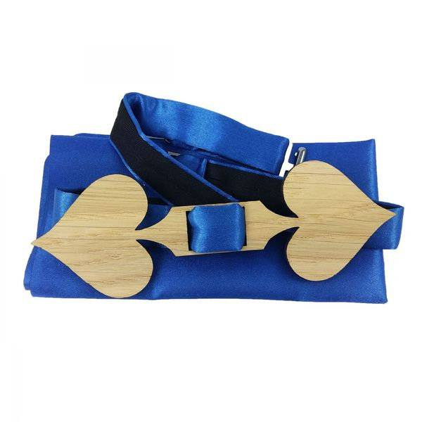 Casino Poker Schleife Fliege Holzfliege Herrenfliege Fliege aus Holz Herz Pik Bild 1
