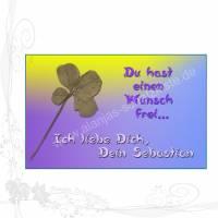 """Handgemachter Glücksbringer mit echtem vierblättrigem Kleeblatt im EC-Kartenformat, """"Liebe 003"""", keine Versandkosten Bild 1"""