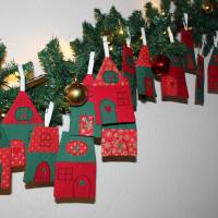 Adventskalender Weihnachtsdorf Winterdorf Adventsdorf Adventshäuser Häuser  Stoffhäuser Advent Weihnachten zum befüllen Bild 3