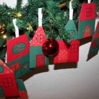 Adventskalender Weihnachtsdorf Winterdorf Adventsdorf Adventshäuser Häuser  Stoffhäuser Advent Weihnachten zum befüllen Bild 4