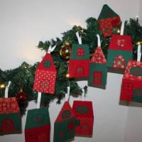 Adventskalender Weihnachtsdorf Winterdorf Adventsdorf Adventshäuser Häuser  Stoffhäuser Advent Weihnachten zum befüllen Bild 5
