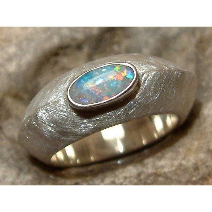 Massiver Opalring - Unikat 925 Silber Ring mit Top Opal - Handmade Silberring / Goldschmiedering - Designerstück Bild 1
