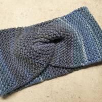 Twist-Stirnband, gestrickt, blau/ color Bild 1