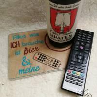 Alles was ich brauche ist Bier, ITH Stickdatei Mug Rug ab 10x10 Bild 4