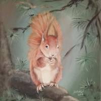 Eichhörnchen, squirrel, Wald, Forest, Wood,  40 x 50 cm Acryl, handgemalt, Original , Unikat Bild 1
