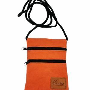 Brusttasche Reisetasche Tasche für Geld Handy Dokumente Filztasche Geldbeutel Portemonnaie aus Filz, Orange Bild 1