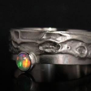 Einzigartiger Silberring mit Opal - Opalring handgemacht aus 925er Silber - Designerstück Goldschmiedering Unikat - kuns Bild 2