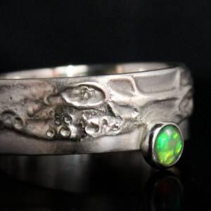 Einzigartiger Silberring mit Opal - Opalring handgemacht aus 925er Silber - Designerstück Goldschmiedering Unikat - kuns Bild 3