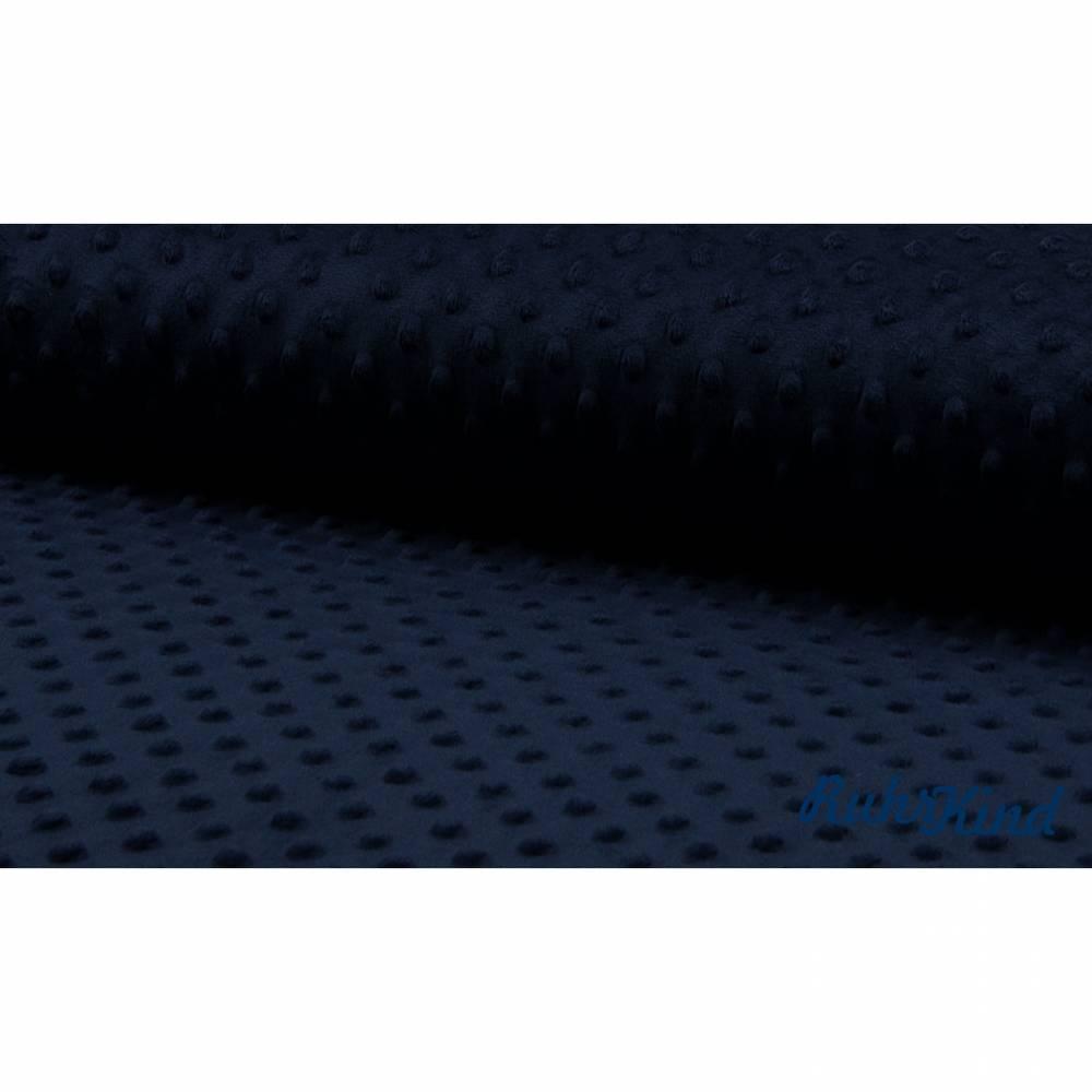 0,5m Kuschelfleece Minky Dots Marine Bild 1