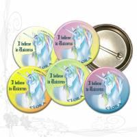 5 handgemachte große Ansteck-Button *Einhorn-Elora01-Mix-Spruch01* Ø43mm mit Sicherheitsnadel, keine Versandkosten Bild 1