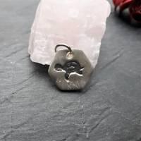 sechseckiger Anhänger mit süßer Schildkröte, 999 Silber, teilgeschwärzt Bild 7