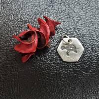 sechseckiger Anhänger mit süßer Schildkröte, 999 Silber, teilgeschwärzt Bild 8