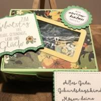 Geburtstagskuchen-Bausatz mit Konfetti, Kerze und Spitzendeckchen für den Geburtstagskuchen To Go - Tropenreise Bild 1