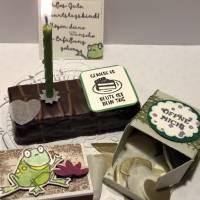 Geburtstagskuchen-Bausatz mit Konfetti, Kerze und Spitzendeckchen für den Geburtstagskuchen To Go - Tropenreise Bild 6