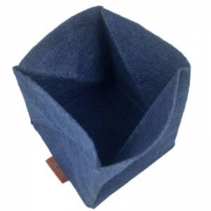 Faltbar Mini Portemonnaie Geldbörse Geldtasche wallet Kinder-Börse handgemacht aus Filz blau Bild 4
