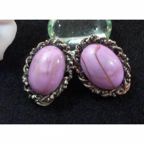 Vintage Ohrclips rosa, Glas, 60er bis 70er Jahre, Ohrringe, Ohrschmuck, Trachtenschmuck, Clips, Trödel Dings da