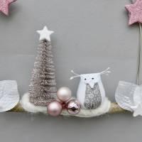 Türkranz* mit Eule und Tanne auf Ast, rosa-weiß Weihnachts-Fensterdeko für den Advent Bild 3