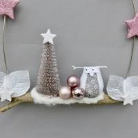Türkranz* mit Eule und Tanne auf Ast, rosa-weiß Weihnachts-Fensterdeko für den Advent Bild 8