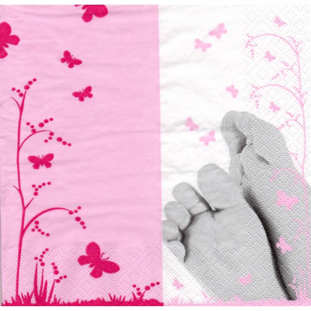 5 Servietten / Motivservietten / Füsse / Blumen / Schmetterlinge  rosa  Sonstige Motive S 268 Bild 1