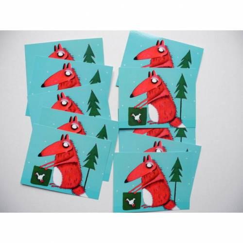 10 Weihnachtskarten mit Carlo, dem Fuchs. lacaluna Karten Postkarten Grußkarten Geburtstagskarten Adventskarten Malerei