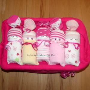 Windeltorte für Mädchen: Windelbabys in der Box, liebevolles Geschenk zur Geburt Bild 8