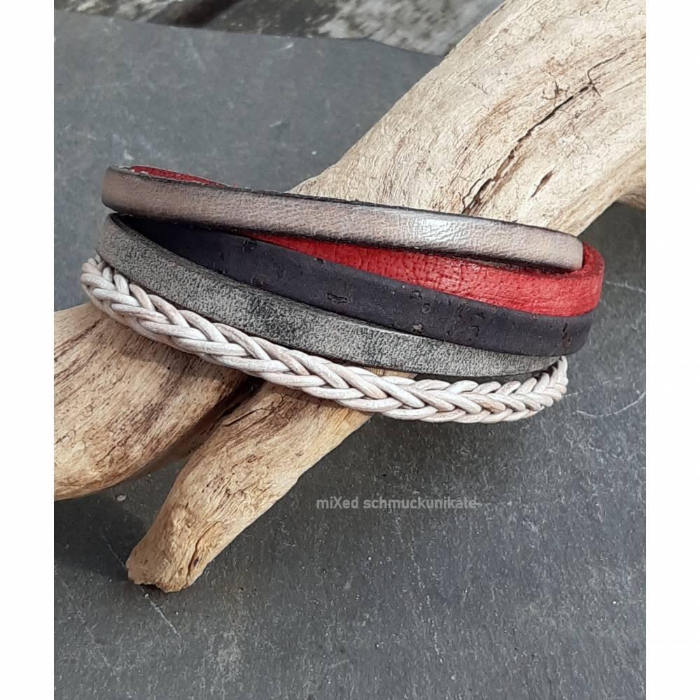 Leder-Armband Farbmix Rot/Schwarz Bild 1