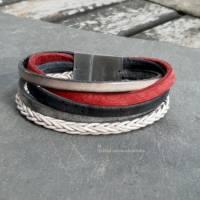 Leder-Armband Farbmix Rot/Schwarz Bild 2