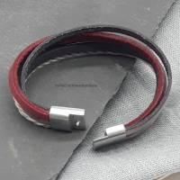 Leder-Armband Farbmix Rot/Schwarz Bild 4