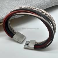 Leder-Armband Farbmix Rot/Schwarz Bild 5